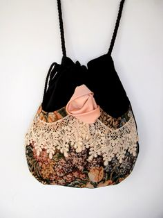 Victorian Bag Rose and Lace   Mori Girl  Black Velvet Bag  Drawstring velvet bag Bag  Crossbody Drawstring Bag  Evening Bag. $45.00, via Etsy.