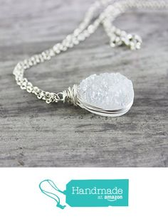 Amazon.com  White Druzy Teardrop Sterling Silver Necklace - 20