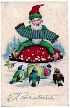 Vintage Clip Art + Movie Clip - Funny Gnome on Mushroom - The Graphics Fairy
