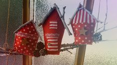 Christmas houses. Door  decoration.
