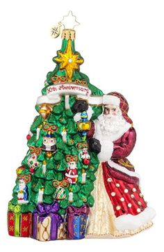 Christopher Radko '30th Anniversary - Hanging with Joy' Santa & Tree Ornament available at #Nordstrom
