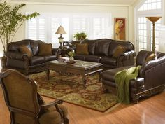 Brown Leather Couches.
