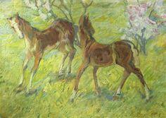 Franz Marc.  Springende Fohlen. 1909, Leinwand, 51 × 70 cm. Privatsammlung. Künstlergruppe »Der Blaue Reiter«. Deutschland. Postimpressionismus.  KO 01772