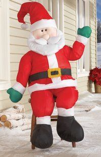 Collections Etc - Stuffable Santa Greeter Christmas Decoration Let Santa spread the holiday spirit to your entire neighboorhood. Almost tall, simply stuff his belly with plastic grocery bags to. Porch Greeters, Plastic Grocery Bags, Collections Etc, Christmas Decorations, Holiday Decor, Elf On The Shelf, Christmas Time, Ronald Mcdonald, Santa