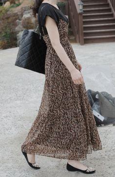75f1d5277146ff Leopard Print Chiffon Maxi Dress by Miamasvin  Miamasvin  KoreanFashion   AsianFashion Chiffon Maxi Dress