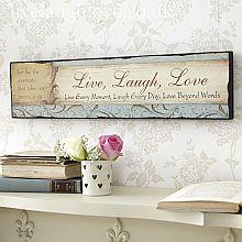 Vintage Wooden Plaque-Live♥Laugh♥Love