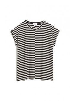 ARMEDANGELS   JAARIN KNITTED STRIPE Shirts T-Shirt Yarn Dyed Stripe - kitt-black Shirts & Tops, Loose Fit, Longsleeve, Fair Trade, Shopping, Products, Fashion, Sustainable Fashion, Clothing