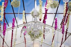 Chandelier, details, hanging flowers, hot pink, light green, reception decor, white
