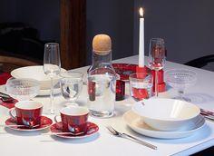 VIittala: Red Taika, Nappula Candleholder, Teema plates, Kastehelmi bowls and votive, Kivi votive, Lempi and Essence Glass Muuto: Corky Cartafe, Plus Grinder