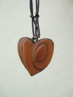 Hand Carved Wooden Heart Necklace Pendant by OceanArtsNorthDevon