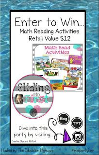 Sliding into First!: Pool Party Blog Hop & Giveaway, math reads, math through literacy, 1st grade, elementary, story problems, word problems, freebie
