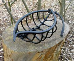 Mild steel, forged Floral, Fruit and Plantlife sculpture by artist Colleen du Pon titled: 'Leaf Vein sculpture 2 (Outsize Metal Steel Leaf statue Art)'