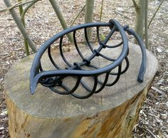 Mild steel, forged Floral, Fruit and Plantlife sculpture by artist Colleen du Pon titled: 'Leaf Vein sculpture 2 (Outsize Metal Steel Leaf statue Art)'