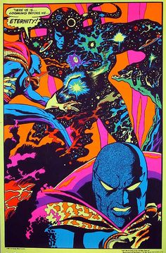 Jack Kirby (with Stan Lee, Mike Royer and Barry Geller). Eternity and Dr. The Eternals. Comic Book Artists, Comic Artist, Comic Books Art, Hulk, Jack Kirby Art, Arte Cyberpunk, Spiderman, Batman, Black Light Posters