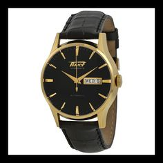 Tissot Men's 'VisoDate' Swiss Automatic Gold-Tone and Leather Dress Watch, Color:Black (Model: T0194303605101). Gold PVD stainless steel case with a black leather strap. Fixed gold PVD bezel. Black dial with gold-tone hands and index hour markers. Minute markers around the outer rim. Swiss-automatic Movement. Case Diameter: 40mm. Water resistant to 30m (100ft): in general, withstands splashes or brief immersion in water, but not suitable for swimming or bathing.