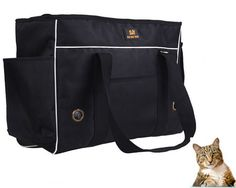 Kailian® Comfort Soft-Sided Dog Handbag Pet Dog Cat Carrier Bag Black -M *** Continue to the product at the image link.