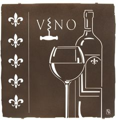 """Artwork by Bindrune Design. This elaborate metal wall art will make the perfect addition to your wine tasting room or home bar decor. Measurements: 18"""" height x 17.75"""" width Color Finish: Espresso Cra"""