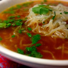 Spicy vegetarian Pho with shirataki noodles