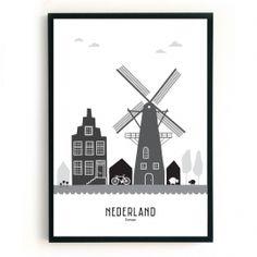 Nederland: dan denkt Mevrouw Emmer aan molens, de heldere lucht (mooie wolken), het platteland / de open ruimte, maar ook aan de grachtenpanden en tulpen..Deze eigenzinnige, wereldse poster is er in twee verschillende formaten, te weten:A3: 29,7 x 42 cm, hagelwit papier, 160 gramsB2: 50 x 70 cm, hagelwit papier, 160 gramsDe poster wordt in een koker, maar zonder lijst geleverd.Is dit jouw thuis, maar toch nét niet helemaal? Maak dan je wensen kenbaar en neem contact op!