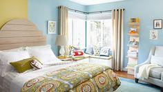 N bedroom: corner window treatment and window seat