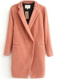 Abrigo de lana simple solapa manga larga-Rosado EUR€35.48