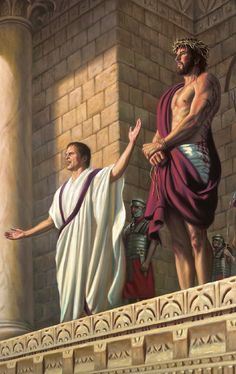 Jesus on trail: Pontius Pilate asking the people what has this man done wrong who they chose to release Jesus Our Savior, Jesus Art, Jesus Lives, God Jesus, Pictures Of Jesus Christ, Bible Pictures, Religious Pictures, Christian Images, Christian Art