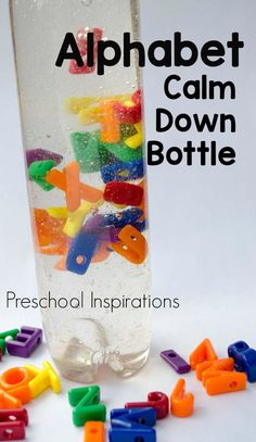 Easy DIY instructions to make your own alphabet sensory bottle! The ABC's have never been so calming and soothing. Sensory Bottles Preschool, Preschool Science, Sensory Bins, Sensory Activities, Preschool Activities, Sensory Play, Sensory Table, Sensory Bottles For Toddlers, Glitter Sensory Bottles