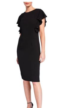 03997bdfde6 T Tahari Beaded Ruffle-Sleeve Sheath Dress - Locolow