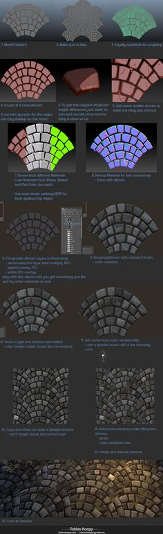 Creating Stylized tiling Cobblestone Fan Pattern - RPG Resources Inspiration - How to cobblestone painting drawing texture resource tool how to tutorial instructions Zbrush Tutorial, 3d Tutorial, Photoshop Tutorial, Digital Art Tutorial, Digital Painting Tutorials, Art Tutorials, Sculpting Tutorials, Blender 3d, Pixel Art