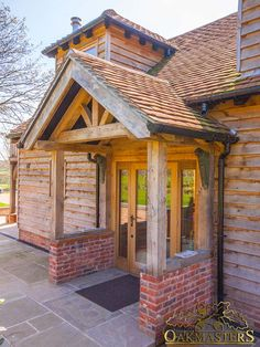Oak Porches - Oak porch with exposed truss Bespoke oak framed porch is a welcoming feature on this small oak framed house. Exposed Trusses, Roof Trusses, House With Porch, House Roof, Front Porch Design, Front Porches, Porch Designs, Porch Oak, Porch Extension
