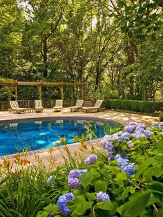 A wooden pergola stretches over comfortable lounge chairs while a sprawling perimeter garden, bursting with blue hydrangeas and orange daylilies, adds privacy and color to this gorgeous outdoor space.