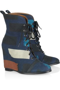Canvas wedge ankle boots by Minimarket