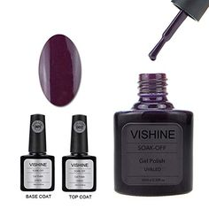Vishine Gel Nail Polish Soak Off UV LED Nail Art Manicure Top Base Coat   10ml Dark Purple (90627) -- Check this awesome product by going to the link at the image.