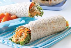Pack roasted red pepper hummus on tortilla for a healthy lunch. Photography by David Scott.