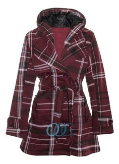 OutofGasClothing Women's Belted Fleece Button Coat Check Hood Jacket