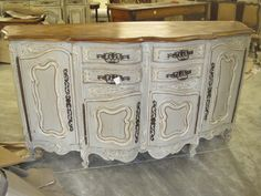French buffet painted grey, gray with white accents, distressed,  antique glazing and natural wood top.