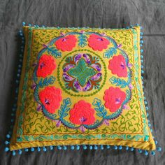 Embroidered Square Gypsy Caravan Cushions - Cushions & Throws - Home Accessories