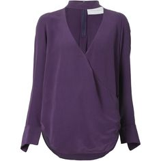 Strateas Carlucci cross front blouse ($620) ❤ liked on Polyvore featuring tops, blouses, long sleeve wrap top, loose blouse, v neck blouse, long sleeve purple blouse and v-neck tops