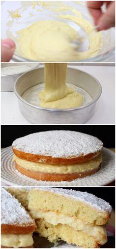 Bolo sonho – Bolo recheado com creme #bolo #sonho #creme #receita #gastronomia #culinaria #comida #delicia #receitafacil