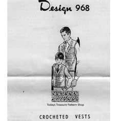 Boys Crochet Vest Pattern - a Father / Son Combo set.  Mail Order Design 968. / Vintage Knit Crochet Pattern Shop