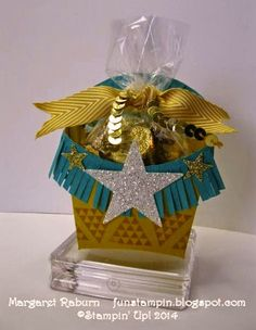 Fun Stampin' with Margaret!  Fry Box Die, Geometrical set, Fringe Scissors, Star Framelit and sm. punch, Gold Sequin Trim.