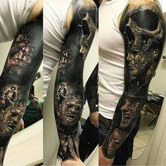 Fantastic dark sleeve by from France Skull Sleeve Tattoos, Best Sleeve Tattoos, Cover Up Tattoos, Body Art Tattoos, Horror Movie Tattoos, Creepy Tattoos, Badass Tattoos, Zeus Tattoo, Dark Tattoo