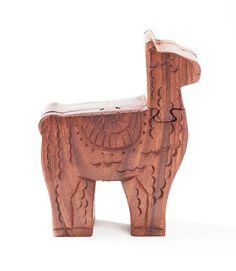 Llama Puzzle Box Fair Trade Non-Profit Since 1988! Secret Storage, Puzzle Box, Hand Tools, Art Forms, Wood Crafts, Fair Trade, Lion Sculpture, Artisan, Carving