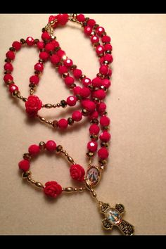 Red Crystal Rosary  $40