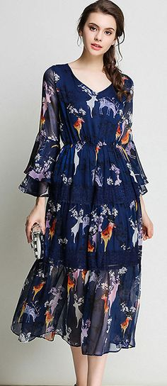 Elegant V-Neck Flare Sleeve Falbala Floral Print Dress