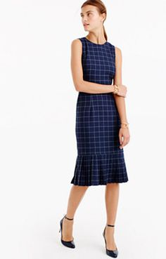 Pleated windowpane dress
