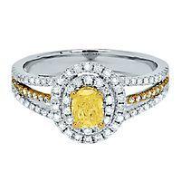 1 ct. tw. Yellow & White Diamond Engagement Ring in 14K Gold