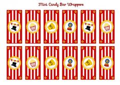 free circus birthday party printablemini candy bar wrappers
