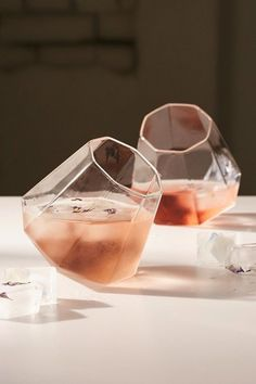 I want these! These diamond glasses will prevent your guests from knocking over their drinks.