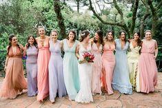 Pastel Colour Bridesmaid Dresses, Pastel Bridesmaids, Bridesmaid Flowers, Wedding Bridesmaid Dresses, Flower Girl Dresses, Summer Wedding, Our Wedding, Dream Wedding, Bae